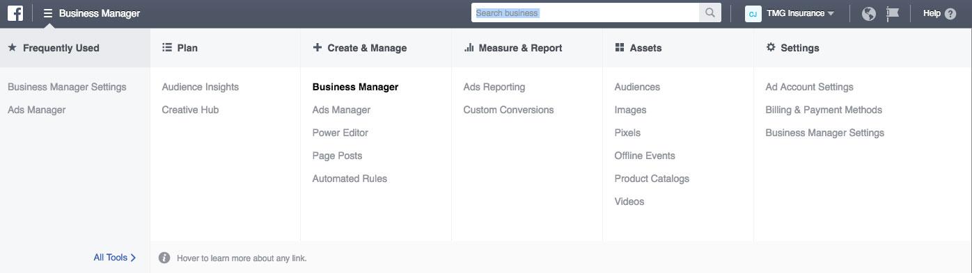 business manager menu