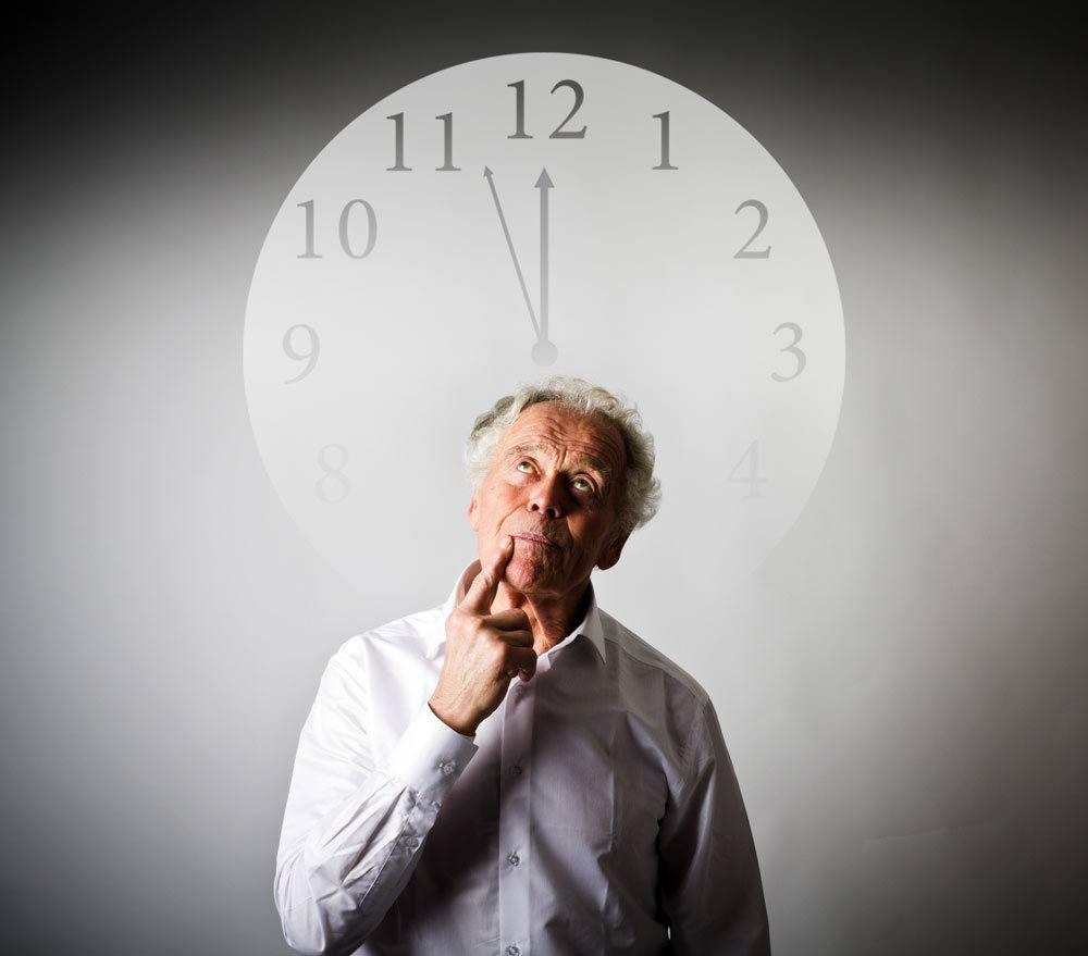 Senior looking at clock