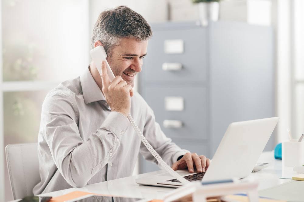 Insurance agent on phone