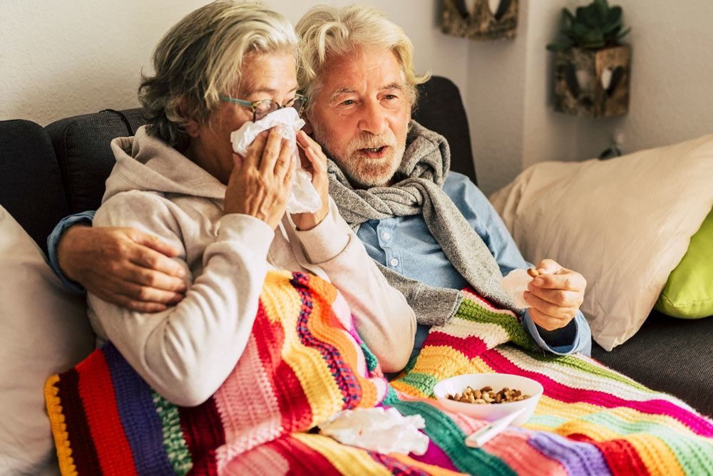 elderly couple cold and flu
