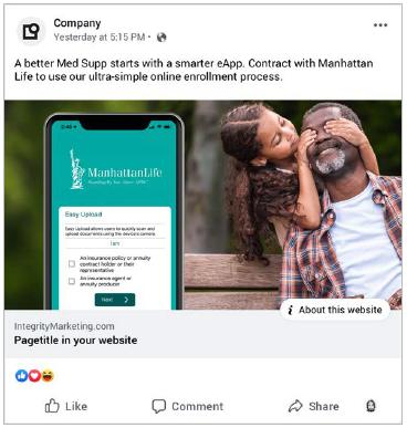 Manhattan Life Medicare Supplement Facebook Ads
