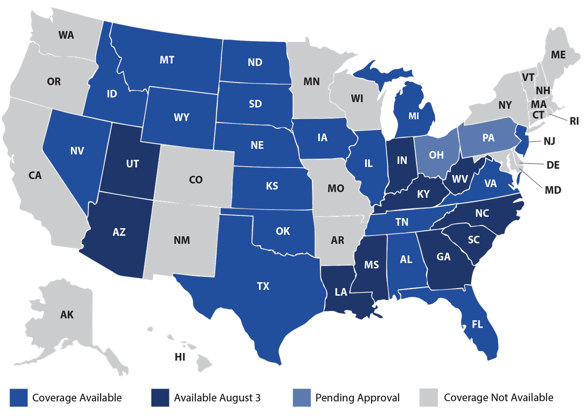 CSO Medicare Supplement Coverage Map